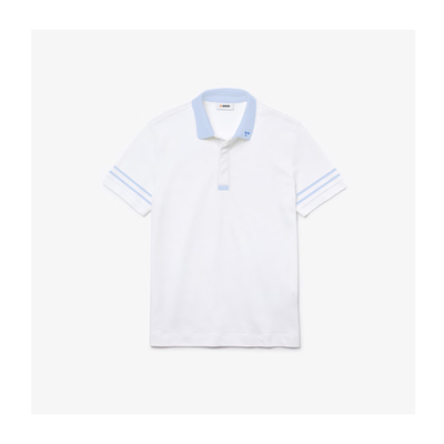 Camisa dubalu tipo polo color blanco y azul