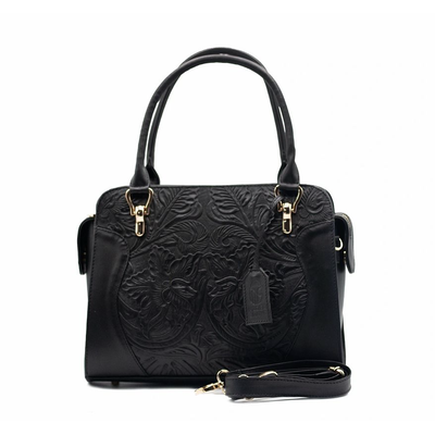 BLACK LEATHER BAG WITH ENGRAVING