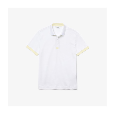 Camisa dubalu tipo polo color blanco y amarillo