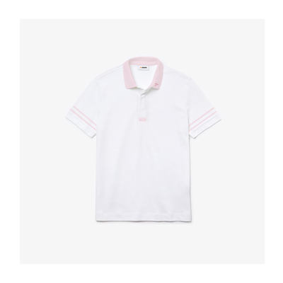 Camisa dubalu tipo polo color blanco y rosa